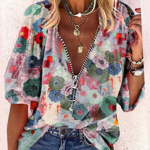 Women's T-Shirt Elegant Summer Women Casual Foral Printing Zipper Plus Size Vintage Loose Button Vacation Pullover Shirt Tops