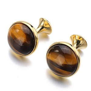 Natural Tiger-eye Stone Cuff Links Cufflinks for Mens Vintage Gold Color Plated High Quality Round Brown Black Stones Cufflink Gift
