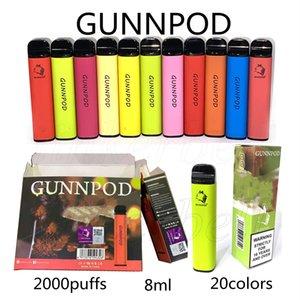 GUNNPOD E-Sigaralar Tek Kullanımlık Vape Kalem Cihazı Kiti 2000 Puffs 20 Renkler 1250 mAh Pil Tedarik 8ml Pod vs Bang XXL Hyppe Max Akış Puf Plus