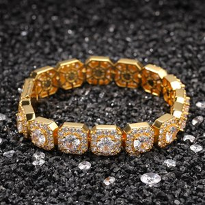 Iced Out Chain Bracelet Square High Quality Mens Silver Gold Bracelets Fashion Hip Hop Jewelry