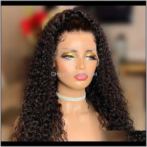 150Percent 180Percent Curly Lace Front Human Wigs For Black Women Natural Bleached Knots Remy Brazilian Hair With Baby Pre Plucked H3K Auymx