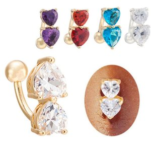 Reverse Crystal Bar Belly Ring Gold Silver Cubic Zirconia Stone Body Piercing Button Navel Two Heart body pierce jewelry 10 Colors