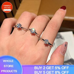 With Certificate 1 Wedding Ring Original 925 Sterling Silver 18K White Gold (If Fake, Refund 10 Times The Price.) Cluster Rings