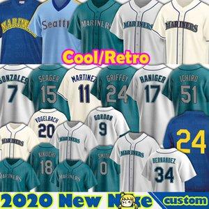 24 Ken Griffey Jr. Mariners Jersey Suzuki Ichiro Felix Hernandez Seattle Edgar Martinez Mitch Haniger Kyle Seager Marco Gonzales Custom Men