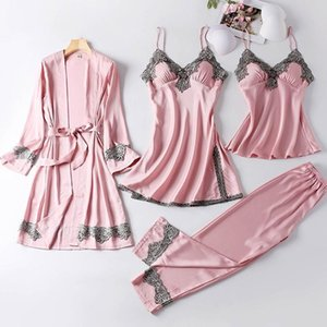 Womens Sleepwears 4Pcs Satin Sleepwear Lady Pajamas Suit Nighty Amp Robe Set Sexy Intimate Lingerie Casual Bridal Wedding Gift Homewear