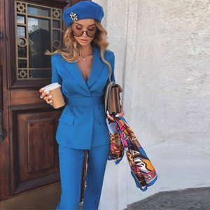 Fashion Blue Mother of the Bride Suits Notached Lapel Two Pieces Wedding Guest Tuxedos Slim Fit Evening Party Prom Outfit 2021