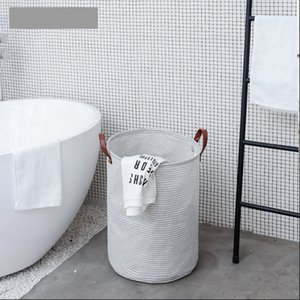 Household Striped Fabric Craft Dirty Clothes Basket Laundry Foldable Storage Bathroom Laundry Storage Barrels