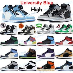 Üniversite Mavi Basketbol Ayakkabı Erkek Sneakers Büküm Obsidiyen UNC Gümüş Toe Karanlık Mocha Işık Duman Gri Şanslı Yeşil Gölge Erkek Kadın Spor Eğitmenleri