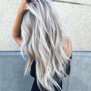 lixiving e tingindo o cabelo encaracolado do meio-comprimento Cos cos cinza gradiente anime peruca feminina fibra química headgear