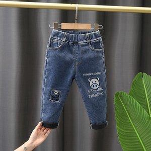 Jeans Winter Children Pants Boy Dark 2-7Y Boys Denim Trousers Casual Letter Cotton Pencil Leggings Children's Clothe