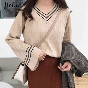 Jielur V-neck Sweater Women Flare Sleeve Loose Pullovers Pull Femme Jumper Soft Slim Chic Autumn Winter Knitted Sweaters 210412