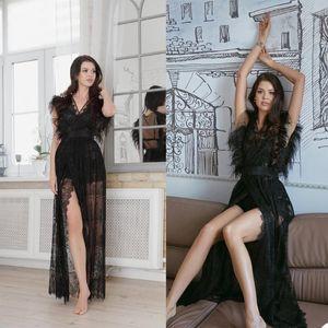 Wraps & Jackets Elegant Sexy Party Sleepwear Women Bathrobe Feather Sleeveless Nightgown Maternity Dress Custom Made Evening Gown1