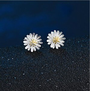 Charm 925 Sterling Silver Gold Daisy Flower Earrings For Women Pendientes Plata Statement Jewelry Girls Gift Stud