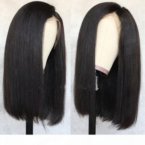 Yaki Straight 13X6 Lace Front Wigs Human Hair Brazilian Kinky Straight 360 Frontal Lace Wigs For Black Women Full Lace With Baby Hair