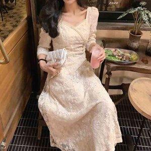 Fairy Vintage Dress Women Evening Party Elegant Midi Dress Female Embroidery Floral Designer One-Piece Drees Korean Summer 210324