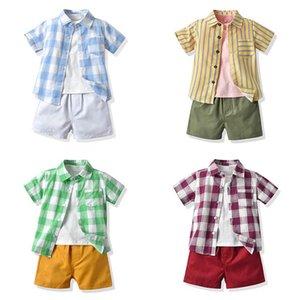 Baby Clothing Sets Boy Suit Boys Outfits Kids Clothes Summer Cotton Short Sleeve Shirts T-shirts Shorts Pants 3Pcs 1-6Y B4941
