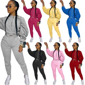 Fashion Designer Women Two Piece Set 2020 New Solid Color Suture Long Sleeve T Shirt Pencli Pants Outfits Fall Winter Ladies Casual Clothing