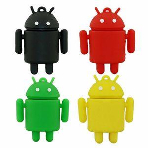 Cartoon Silicone Android Robot USB 2.0 Memory flash stick pen drives 4G 8GB 16GB 32GB 64GB
