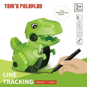Kids Toy Smart Learning Dinosaur Mini Educational Robot Magic Inductive Line Tracking Follower Sensor Gift For Children Drawing