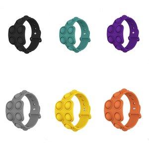 8style Push Bubble Pop Fidget Bracelets Toys Sensory Ring Decompression Keychain Puzzle Press Finger Stress Bracelet Wristband zx2643