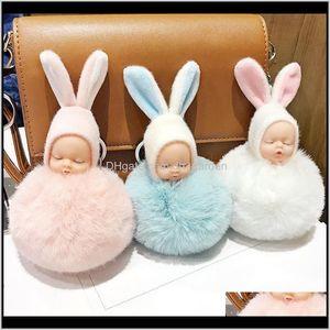 Cute Sleeping Baby Doll Keychain Pompom Rabbit Ear Ball Carabiner Chain Keyring Women Kids Holder Bag Pendant Ring Juopb Party Fxnsn