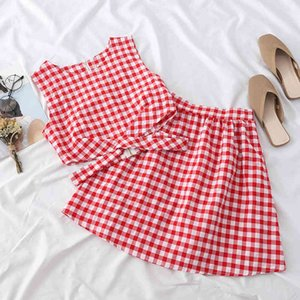 Heliar Sets Women Zipper Plaid Tank Top and Skirts Two Pieces Outfits Women Sets Top and Mini Skirts Sets Women 2020 Summer T200622