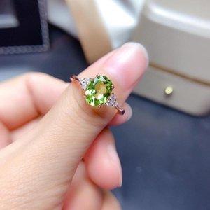 Anel de prata esterlina do peridot verde natural, birthstone de agosto, casamento da declaração do engajamento de Handamde. Presente para mulheres seus anéis de cluster