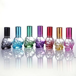 8ml Glass Perfume Bottles Skull Shape Portable Refillable Empty Spray Bottles Atomizer Container Candy Color Design EWF6294