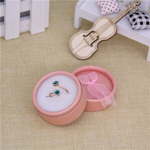 [DDisplay]8.3*3.5cm Round Jewelry Packing Box with Bow Birthday Gift Ring Case Earring Box Festival Pendant Jewelry Box 309 Q2