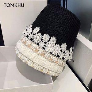 Women Summer Sun Hats Lace Flower Trimmed Beach Cap Bucket Straw Hat UV UPF50 Travel Foldable Brim Spring Lady Wide