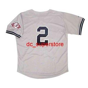 Пользовательские шитья Дерек Джетер 2003 Нью-Йорк 100-летие Серая дорога Джерси Мужчины Женщины Молодежный бейсбол Джерси XS-6XL