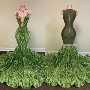 Sexy Olive Green Mermaid African Prom Dresses 2021 Sequined Black Girls Evening Dress Party Wear Formal Gowns
