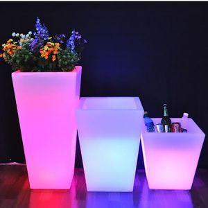 تغيير PE المواد البلاستيك أدى زهرة الأواني الطابق الديكور دلاء الجليد مربع الوهج الغراس زهرية 5 فولت 12 فولت الزخرفية الزخرفية اكليلا من الزهور