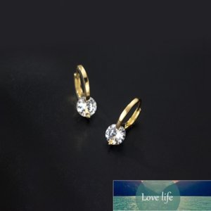 925 Sterling Silver Crystal Round Bead Gold Color Stud Earring For Women Party Jewelry Pendientes Accessories eh925