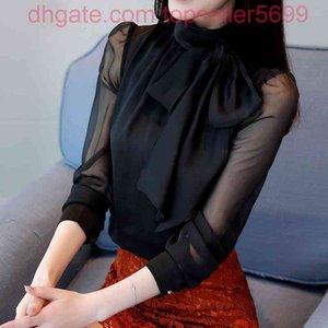 Spring Long Transparent Sleeve Bow Tie Collar Black Blouses Women TWhite Shirt Tops