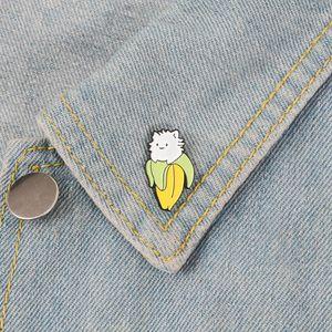 바나나 고양이 고슴도치 동물 브로치 핀 에나멜 옷깃 핀 여성을위한 남자 탑 드레스 카지지 패션 쥬얼리 윌과 샌디
