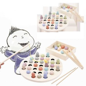 Baby Wooden Toy Children Montessori Education Wooden Beads Clip Fish Magnetic Math Toy Multi-function Educational Puzzle Toys