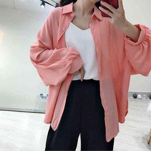 Женские весенние розовые девушки рубашки свободные плюс размер красочный длинный рукав вскользь женские блузки негабаритные воротника рубашка рубашка верхняя часть auj3