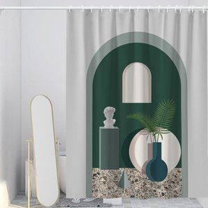 Designer Fashion Shower Curtain Fabric Washable Luxury Curtains Gray White Flowers Douchegordijn Bathroom Amenities EH50S