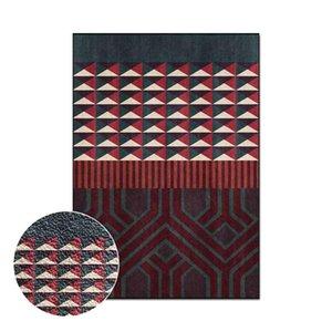 Carpets Red Geometric Splicing Carpet For Living Room Rectangle Bedroom Bedside Floor Mat Non Slip Parlor Area Rug Children's