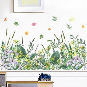 Wall Stickers DIY Sticker Grass Flowers Green Plants Home Decor Living Room Nursery