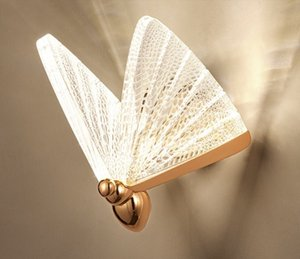 2021 Butterfly Wall lamp Nordic Modern Minimalist  Staircase Bedside Bedroom Background Aisle Lighting Decoration