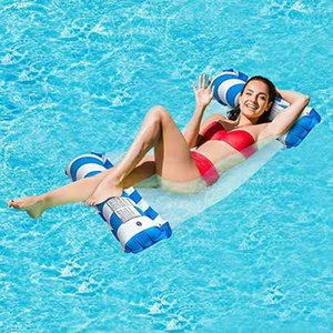 PVC single hammock floating row swimming circle thickened water inflatable mesh cloth reclining chair mounting air cushion