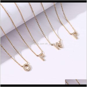 Other Necklaces & Pendants Jewelry Drop Delivery 2021 Gold Plated Diamond Capital English Letter Pendant Simple Fashion Womens Necklace Strai