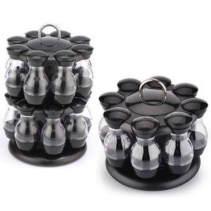 8 16Pcs Rotating Cruet Condiment Seasoning Jars Spices Bottles Storage Shakers Holder Kitchen Salt Sprays Organizer Pepper