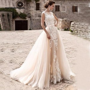 Other Wedding Dresses WeddingDressLongcream Lace Mermaid Dress Withremovable Tulle Trailing Ball Gown Bridal Robe De MarieeIn The Summer1