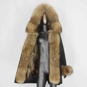 2021 Bluityfair длинная водонепроницаемая парка зимняя куртка женская реальная пальто натуральный енот Fox Fox Wire Wirewear Streetwear Removable