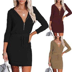 Casual Dresses Lady Fashion Zip Hooded Long Sleeve Dress Women Elastic Waist Solid Sport Autumn All-match Elegant Lace-Up lulu365