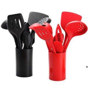 10 pz / set in silicone utensile utensile cucchiaio zuppa mestolo spatola tornitore forcella tenaglie resistenti al calore strumenti cucina accessori DHE5708