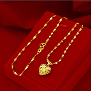 Fashion Real 24K Gold Necklace Pendant For Women Wedding Engagement Jewelry Love Heart Chain Choker Birthday Gifts Girl Necklaces